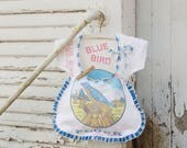 Vintage Dress Clothespin Bag- Blue Bird Flour Sack - Vintage Linen - Farmhouse Style