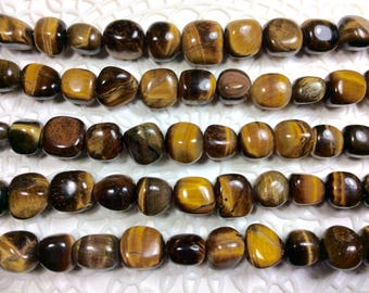 "Tiger eye, Tumbled beads, 8~10mm, 15"" Strand, hole 1mm, one strand"
