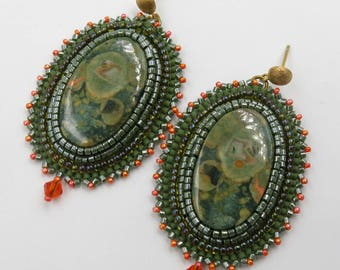 Earrings embroidered designer RHYOLITE stones, chips in Silver 925 gold plated