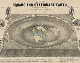 Orlando Ferguson Square and Stationary Flat Earth Map 195gsm A1 Poster