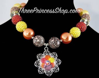 Turkey Thanksgiving - Bubblegum Necklace (Kids)