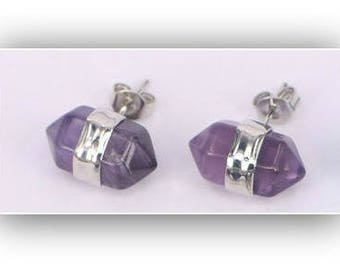 Amethyst Earrings,Amethyst Hexagon Crystal Point Stud Earrings,Purple Hexagon Earrings
