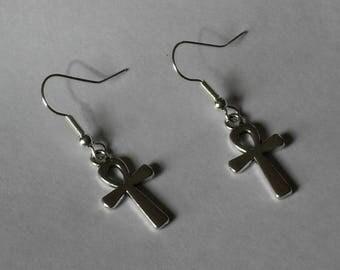 Ankh Earrings,Silver Ankh Earrings,Egyptian Ankh Earrings Jewelry