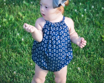 Romper, bubble romper, anchors, spring fashion, baby fashion, baby boho, photography prop, Baby girl romper, romper, girl romper, baby