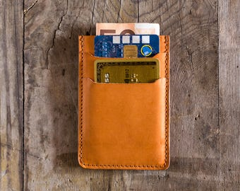 Natural tan leather wallet leather, credit card holder, business card holder, slim wallet, travel wallet, cardholder in leather, minimal