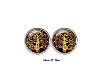 Tree of life ° Stud Earrings black brown glass cabochon Gustav klimt reproduction spirals °