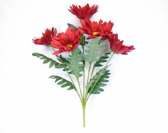 """Jumbo Gerbera Daisy 7 Artificial Silk Flowers 21"""" Bouquet 8205"""