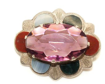 Vintage Scottish Sterling Silver Simulated Amethyst & Agates Oval Pin Brooch