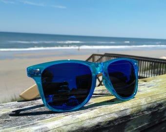 Bamboo Side Translucent Blue Sunglasses