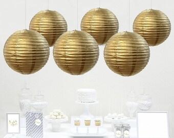 12pcs Gold Paper Lantern / wedding decorations / birthday decor / nursery decor / bridal shower / baby shower / anniversary / Gold
