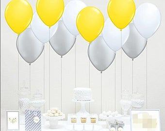 60pcs Boy Baby Shower Decorations Yellow Gray White Latex Balloons Birthday Party Wedding Anniversary Decoration
