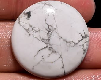 Amazing 30 % OFF Sale Natural Howlite Gemstone Cabochan Round Shape Rear Piece 26.00 Cts. Size 24 X 24 X 6 Code DN 118
