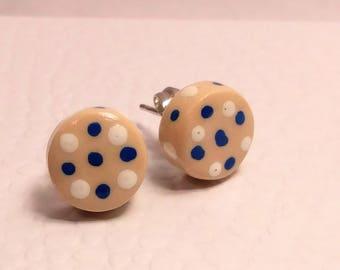 Polymer clay Polka Dot Stud earrings