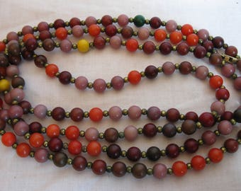Vintage bead necklace, multi colored beaded necklace, fall colored necklace, single strand necklace, vintage jewelry, vintage necklace