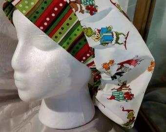 Grinch Bouffant scrub hat, Christmas,  winter, free shipping,  cord stop
