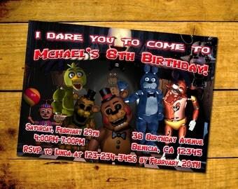 Five Nights At Freddy's Invitation, You Print Invitation, FNAF Birthday, Five Nights At Freaddy's Invite, FNAF Themed Birthday Party Invite