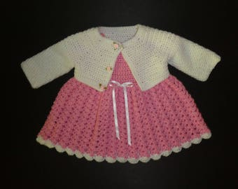 Baby clothes, newborn dress, baby girl, shower gift, crochet dress and jacket, pink dress, coming home outfit