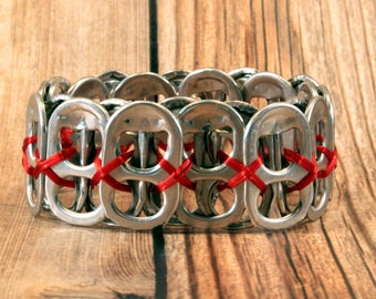 Upcycled Soda Can Tab Bracelet - Red