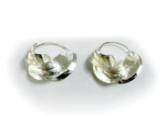 Small Silver Fula  Twist Hoop Earrings