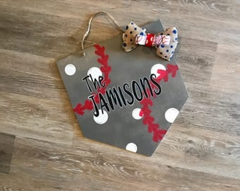 Home Plate Baseball Personalized Doorhanger