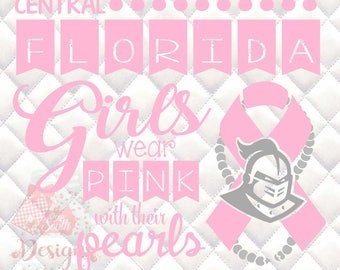 Central Florida Knights Pink and Pearls - Breast Cancer Awareness - SVG, Silhouette studio and png bundle
