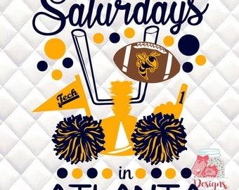 Saturdays in Atlanta - Georgia Tech Yellow Jackets - Tailgating, Gameday - SVG, Silhouette studio bundle - design download