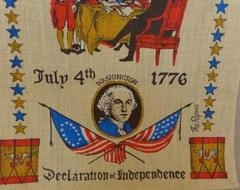Vintage July 4 Patriotic Linen Tea Towel