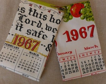 Pair of Vintage 1967 Calendar Tea Towels