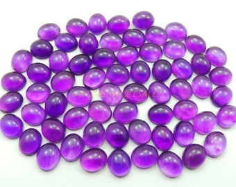 5 Pcs - Natural Amethyst Smooth Oval Shape Cabochons - 12x10 MM Size - Amethyst Cabochons - High Quality - Amethyst Cabochon - Wholesalegems