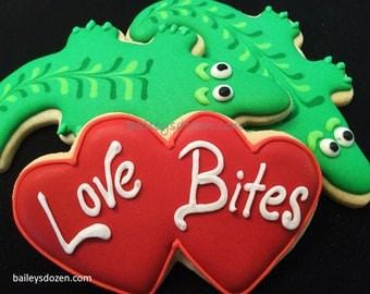 funny valentine alligator cookies gators in a gift box valentines day mini hearts