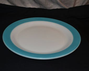PYREX Milk Glass Dinner Plate with Aqua Blue Band