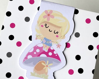 Magnetic Bookmark. Spring Fairy on Toadstool shaped Magnetic Bookmark. For books, planners and notebooks.