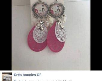 Pink cat drop earrings