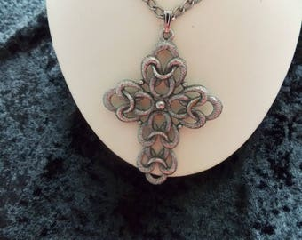 Vintage Sarah Coventry Signed Silver Tone Cross Pendant Necklace #E17