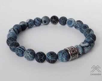Agate bracelet - Agate beads - Mens bracelet - Beaded bracelet - Agate