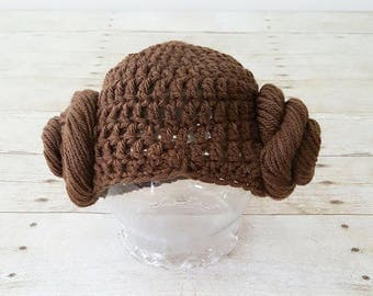 Crochet Baby Princess Leia Hat Beanie Wig Hair Star Wars Costume Infant Newborn Baby Toddler Child Adult Photography Photo Prop Shower Gift