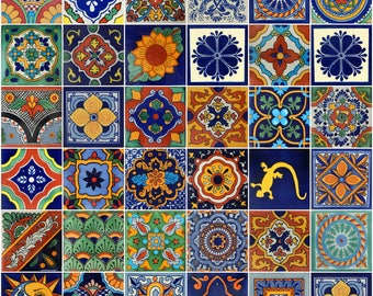 Box Of 100 Mexican Talavera Tiles Handmade Assorted Designs Mexican Ceramic 4x4 inch
