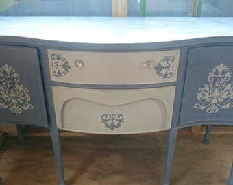 Vintage upcycled sideboard with added stencil design and hand painted in chalk paint.