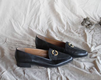 Vintage Black Leather Loafers