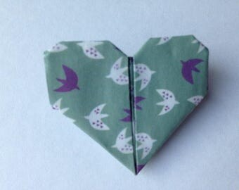 "Unique brooch ""Heart"" origami paper"