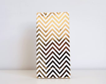 Gold Chevron Treat Bag - Pack of 6
