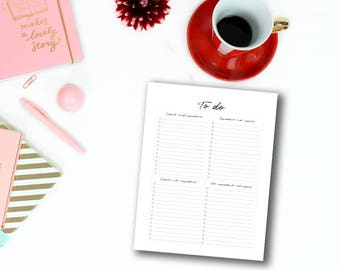To do list printable : Large Size - To do list planner - Printable to do list Letter size - To do planner - To do lists - Planner to do list