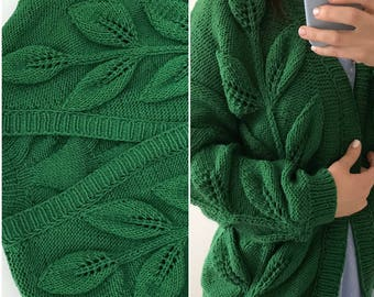 Women knit sweater cardigan green winter Christmas gift yarn knitted sweater boho cardigan clothing cotton knit jacket oversized bomber