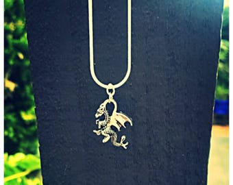 Beautiful double sided tibetan silver dragon necklace. 925 silver chain. Gift Bag Packaged.