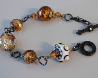 Lampwork and Crystal Beaded Bracelet
