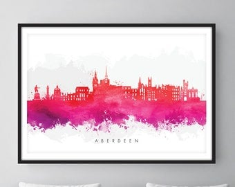 Aberdeen Skyline, Aberdeen Scotland Cityscape Art Print, Wall Art, Watercolor, Watercolour Art Decor [SWABZ09]