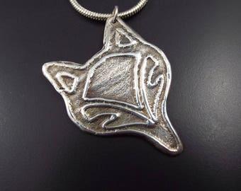 Silver fox pendant necklace, animal jewellery, fine silver