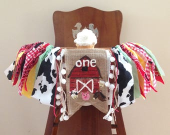 Farm Animal High Chair Banner/Cake Smash Photo Shoot Prop/Barnyard Picnic Tractor Theme/Summer Fall/First Birthday Picture/Party Decor
