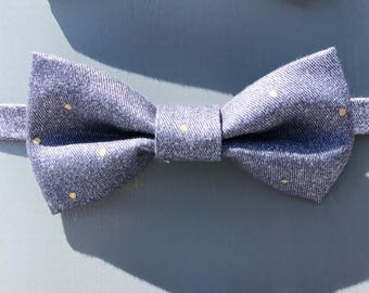 Denim Dots Bow Tie