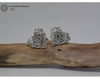 Crochet Wire Earrings / Silver Wire Earrings / Heart Earrings / Stud Earrings / Small Earrings / Silver Earrings / Lightweight Earrings